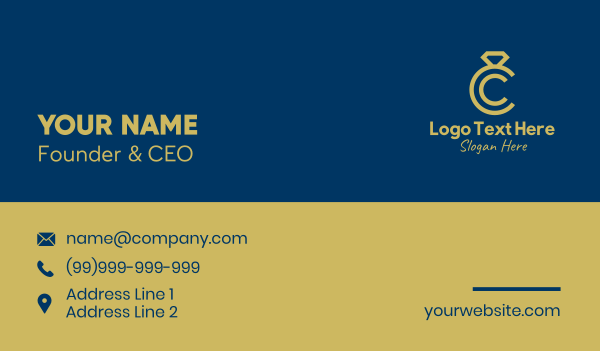wedding ring - Jewelry Store Letter C  Business card horizontal design