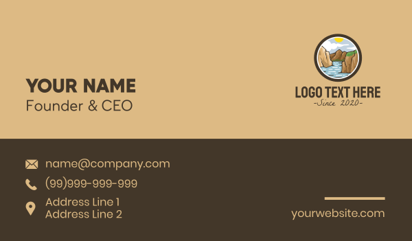 fjord - Rustic Mountain River Business card horizontal design