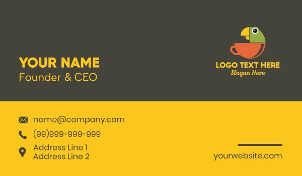 wild animals - Parrot Tea Cup Business card horizontal design