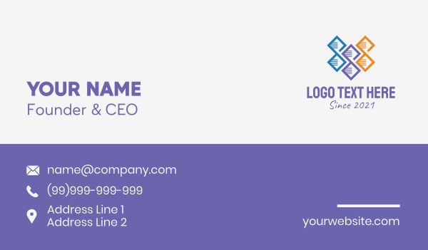 biomedical - Multicolor DNA Strand Business card horizontal design