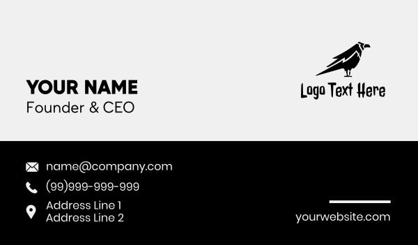 animal shelter - Black Crow Silhouette  Business card horizontal design
