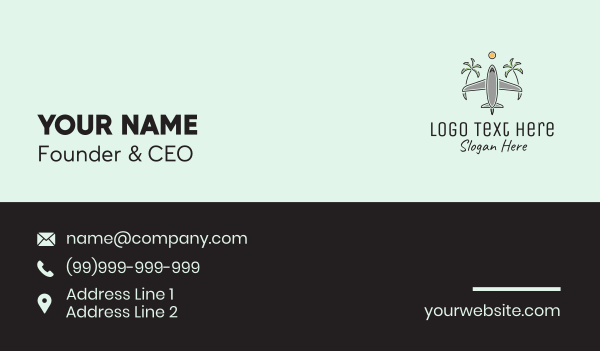 travel agent - Airplane Tropical Vacation Travel Business card horizontal design