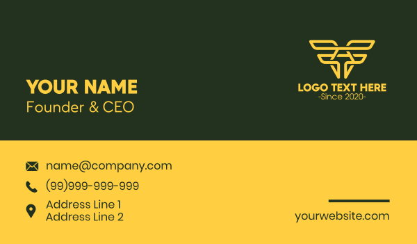 parcel - Aviation Wings Letter A Business card horizontal design