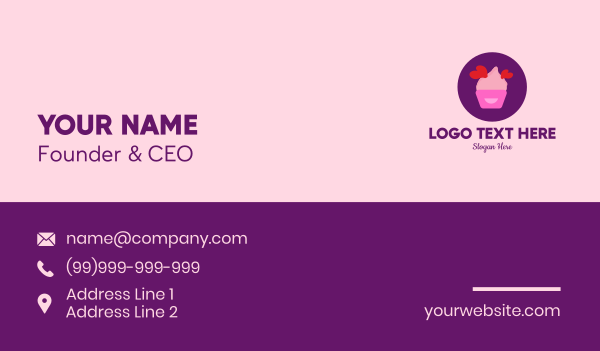 french patisserie - Sweet Lovely Cupcake Business card horizontal design