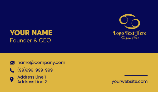 cancer - Gold Cancer Horoscope Symbol Business card horizontal design