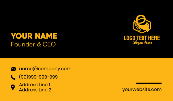 lounge music - Gold Trumpet Silhouette Business card horizontal design