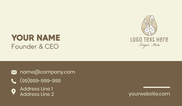adorable - Bunny Rabbit Egg Business card horizontal design