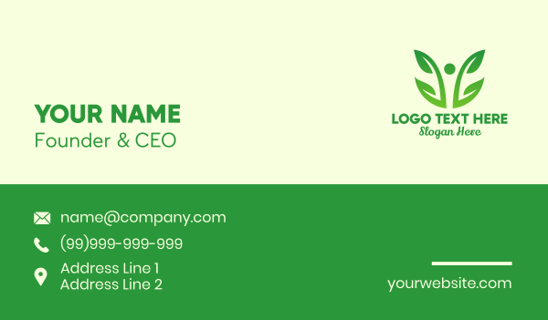environment friendly - Two Leaf Vine Plant  Business card horizontal design