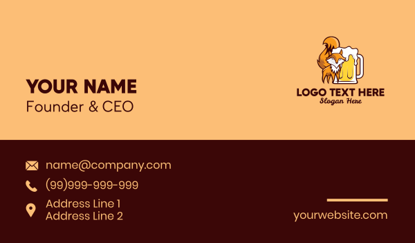 craft beer - Fox Beer Business card horizontal design