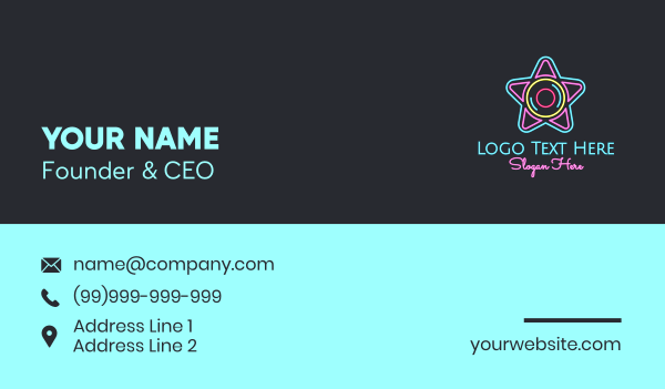 sing - Neon Star Disc Business card horizontal design