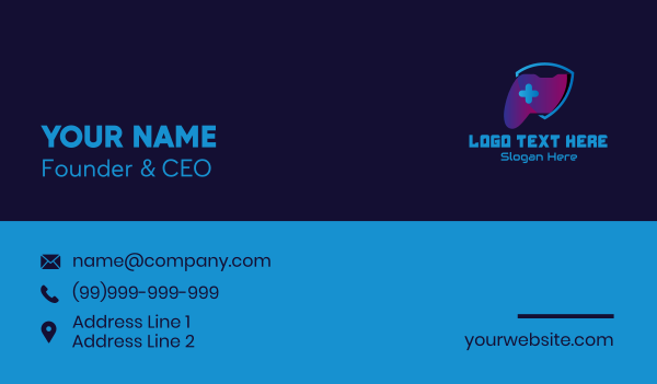 gaming community - Game Controller Shield  Business card horizontal design