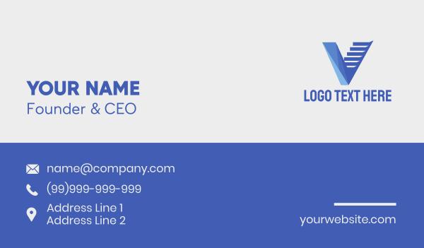 file - Blue Letter V Staircase Business card horizontal design