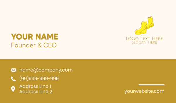boots - Simple Yellow Rain Boots Business card horizontal design
