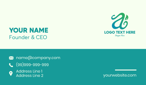 vinery - Organic Herb Letter A Business card horizontal design