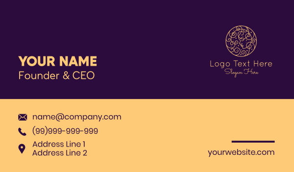 heavenly - Gold Monoline Goddess Business card horizontal design