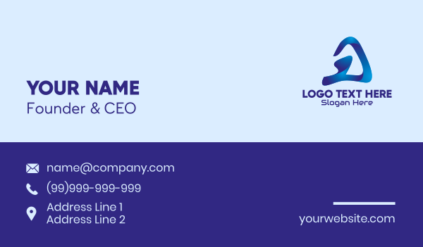 mobile gaming - Blue Gaming Letter A  Business card horizontal design