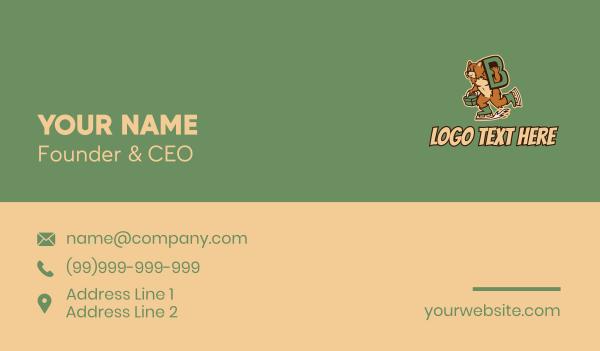 skating - Ice Skating Bear Letter B Business card horizontal design