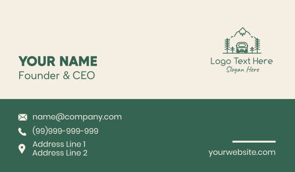 van - Green Camper Van Roadtrip Business card horizontal design