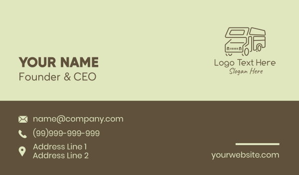 van - Minimalist Campervan Business card horizontal design