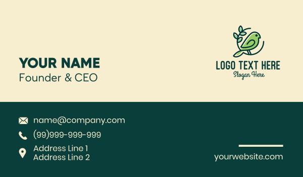 ecosystem - Cute Green Bird Business card horizontal design