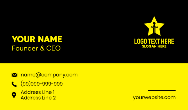 knight - Swordsman Star Business card horizontal design