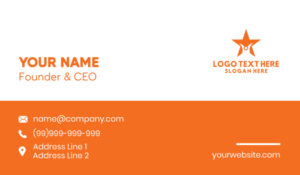 orange star - Abstract Person Star Business card horizontal design