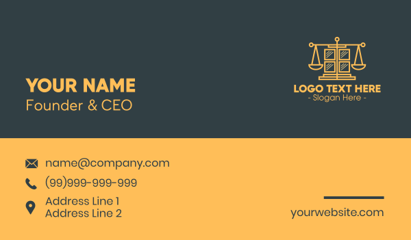 judiciary - Golden Law Window Business card horizontal design