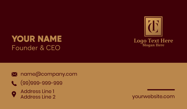 ct - Letter TC Deluxe Hotel  Business card horizontal design