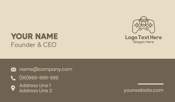 twitch streamer - Monoline Gaming Gorilla Business card horizontal design