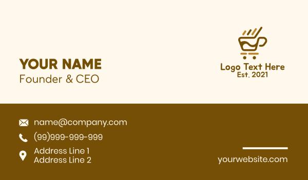 brewed - Coffee Push Cart Business card horizontal design