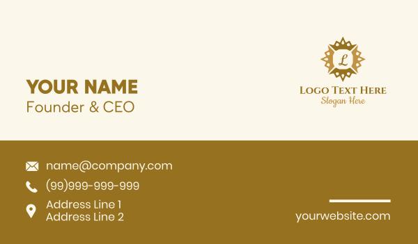 mirror - Gold Sun Crown Letter  Business card horizontal design