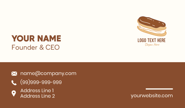 delicacy - Chocolate Eclair Sweet Pastry Business card horizontal design