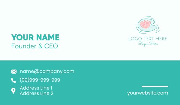 pond - Lotus Flower Line Art Business card horizontal design