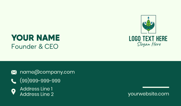 droplet - Plant Watering Business card horizontal design