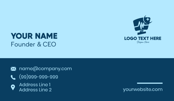 frontliner - Night Medical Monitor  Business card horizontal design