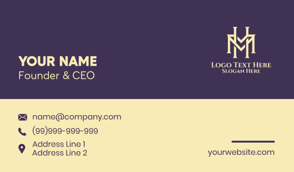 beige - Cream Classic Letter H & M Business card horizontal design