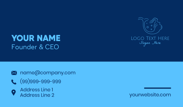 baby supplies - Blue Pregnant Mermaid   Business card horizontal design