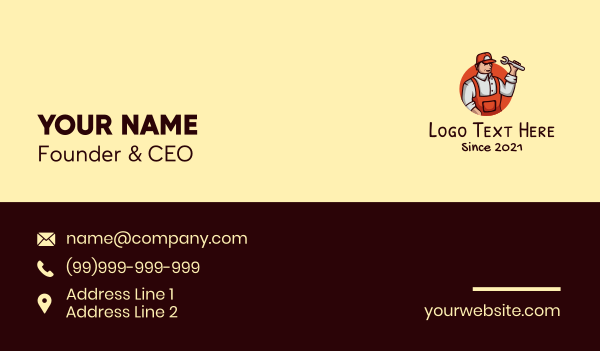 factory worker - Repair Handyman Mechanic Business card horizontal design