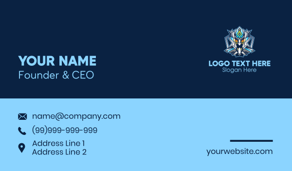 online game - Gaming Robot Character Business card horizontal design