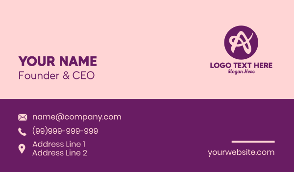 fashion accessories - Purple Feminine Letter A Business card horizontal design