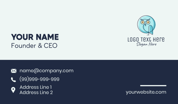 chat box - Blue Owl Chat  Business card horizontal design