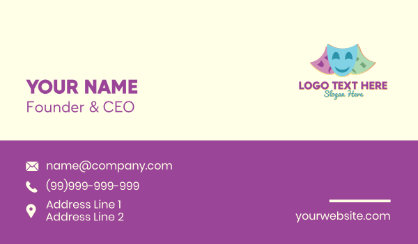 performer - Drama Club Theater Business card horizontal design