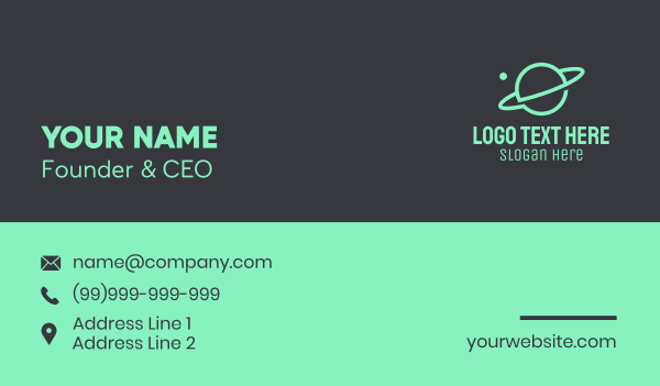 galaxy - Green Minimalist Planet Business card horizontal design