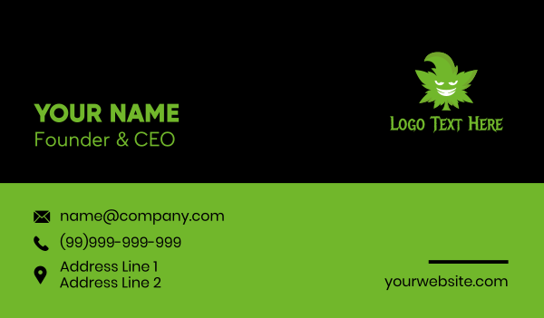 vice - Evil Marijuana Mascot  Business card horizontal design