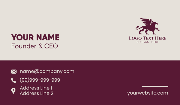mythical - Mythical Griffin Creature Business card horizontal design