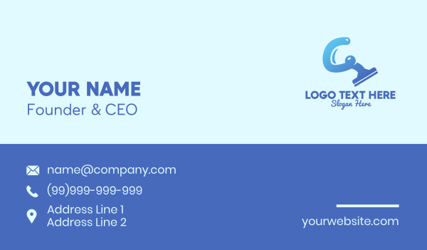 disinfect - Blue Cleaning Squeegee Business card horizontal design