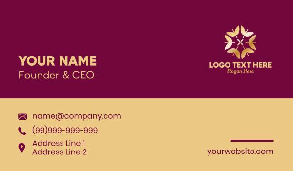 wedding organizer - Golden Elegant Leaf Floral  Business card horizontal design