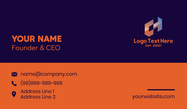 app developer - Futuristic Letter CH  Business card horizontal design