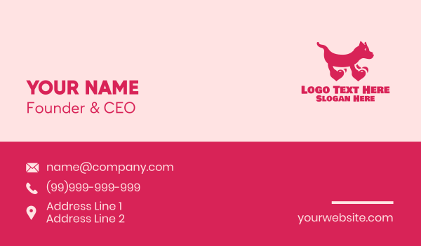 groomers - Dog Heart Paws  Business card horizontal design
