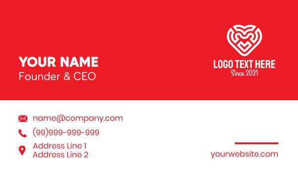 labyrinth - Red Heart Maze Business card horizontal design